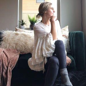 NWOT POL bohemian white lacy tunic